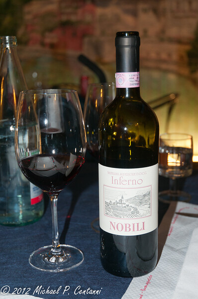 Inferno - a locally produced Lombardia wine.