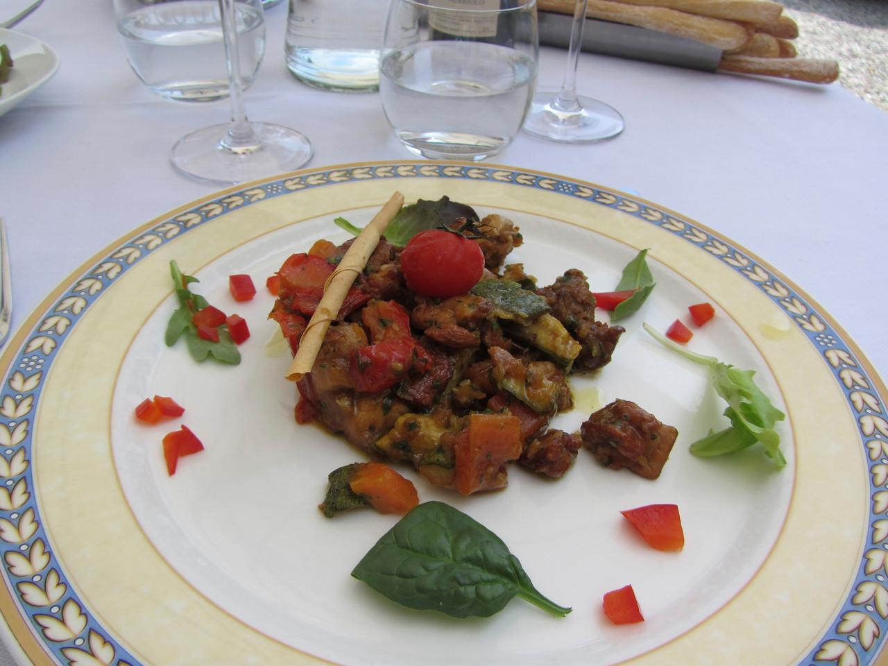 Pranzo per compleanno di Michael a Osteria Vignaiolo<br /> Insalata Tiepida di Coniglio