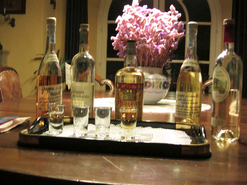An assortment of Grappa at Bricco dei Cogni