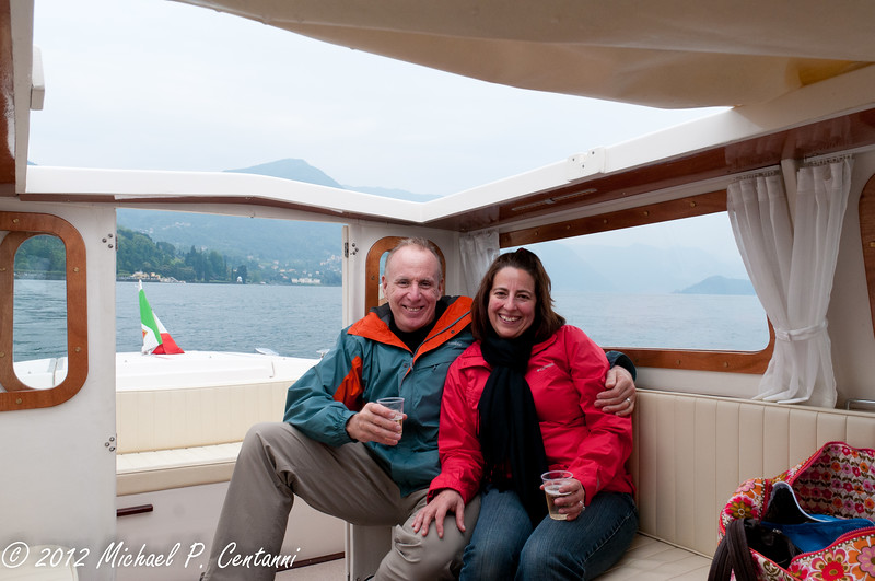 Taking a tour of the lake on our private taxi boat with some Prosecco!