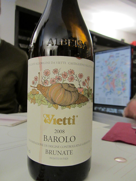 in the tasting room at Vietti<br /> <br /> Barolo Brunate
