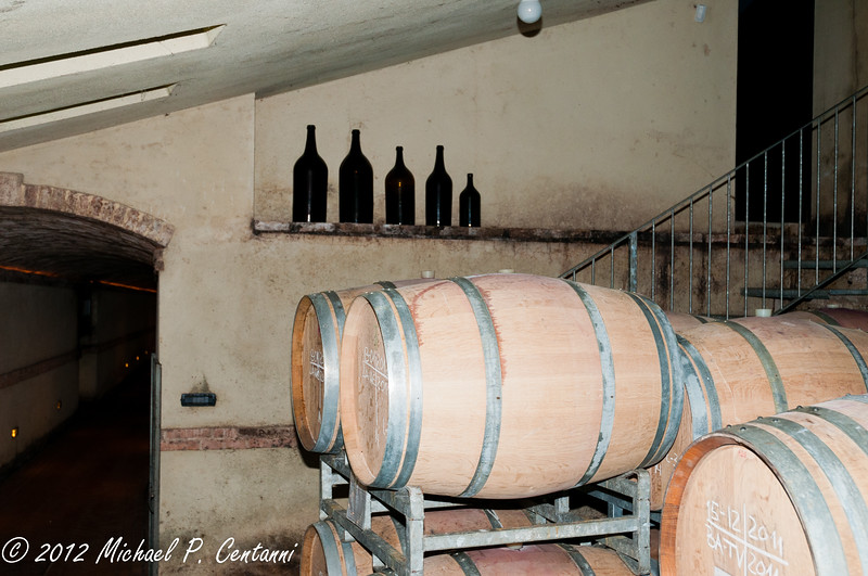 wine barrel storage at Vietti