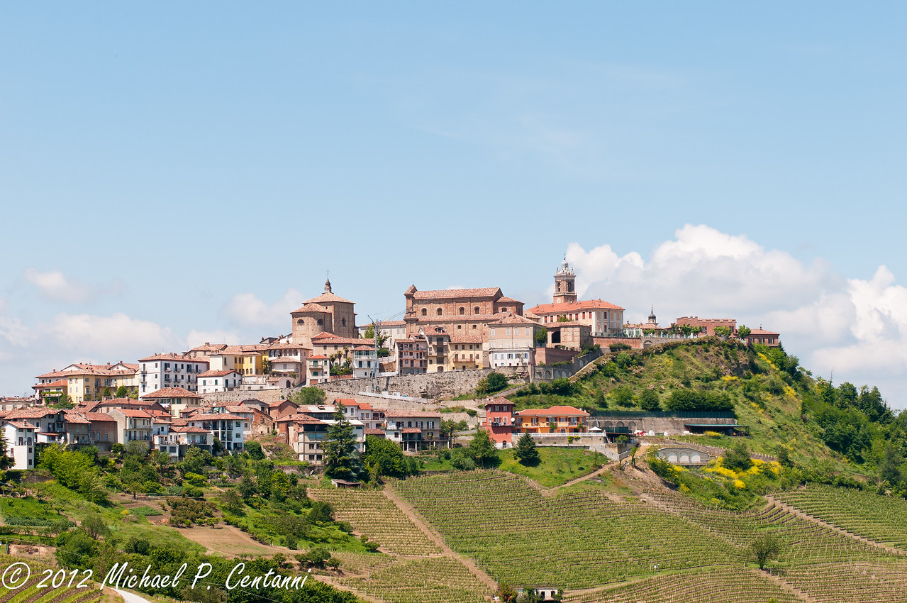 Looking up at the town of La Morra