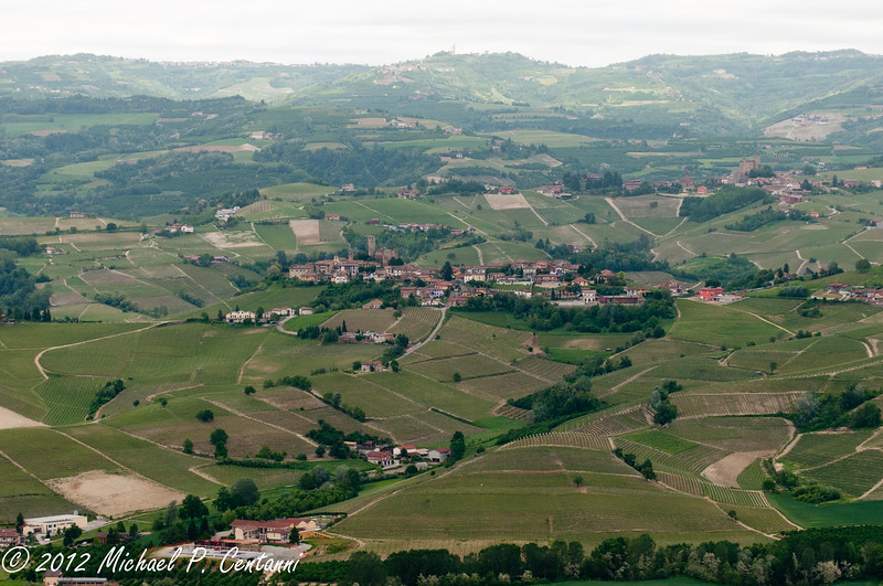Vineyards and towns surrounding La Morra