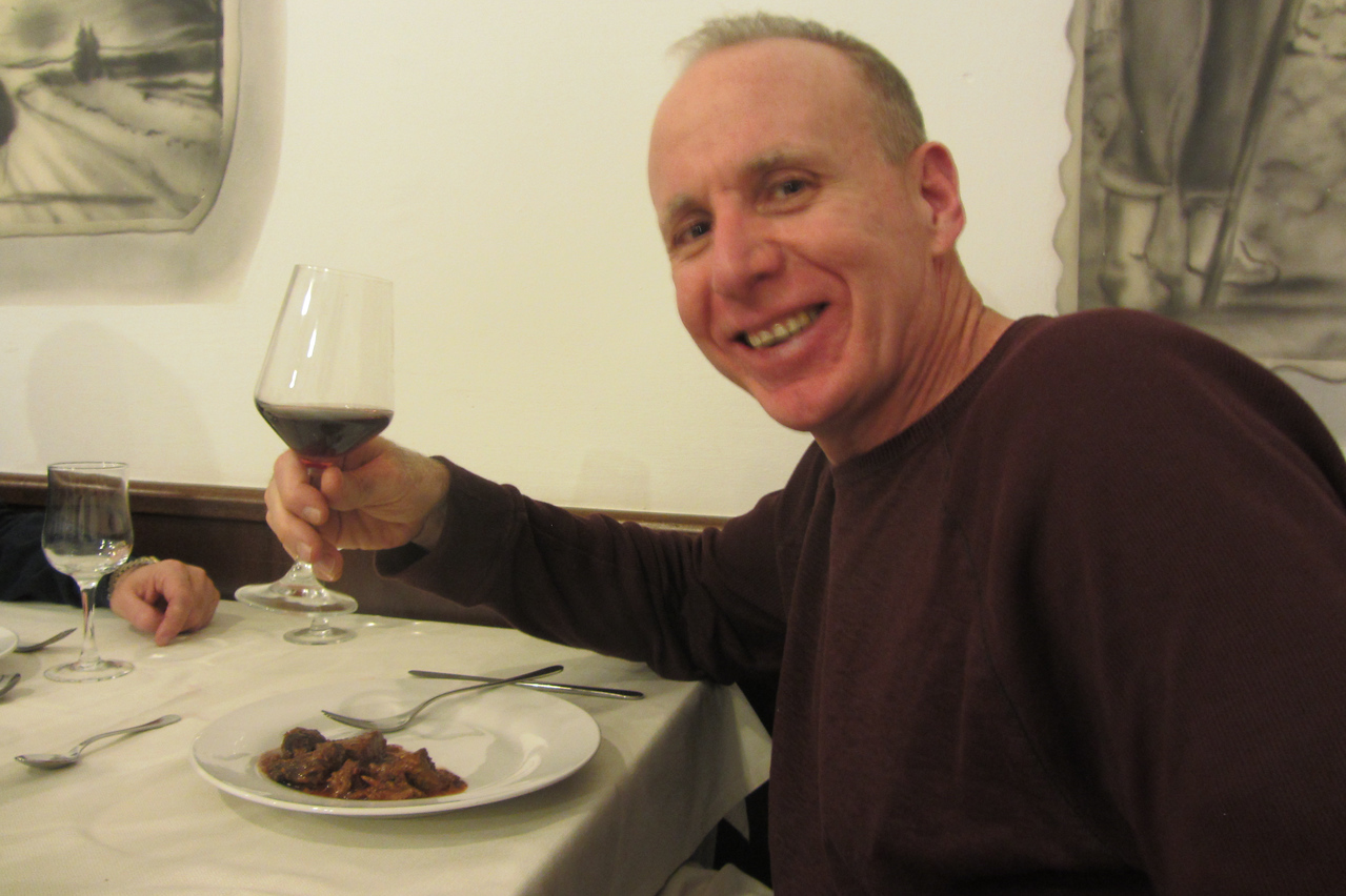 Enjoying a great dinner with a great glass of wine!
