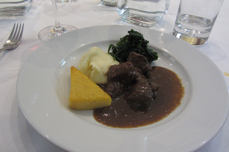 Cinghiale with polenta, whipped potatoes and sautéed spinach - La Cantinetta, Barolo