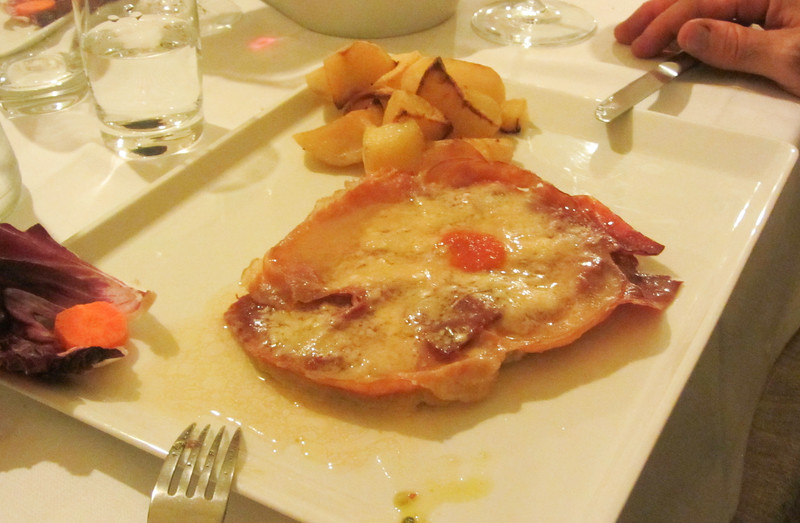 Veal thinly pounded with proscuitto and cheese