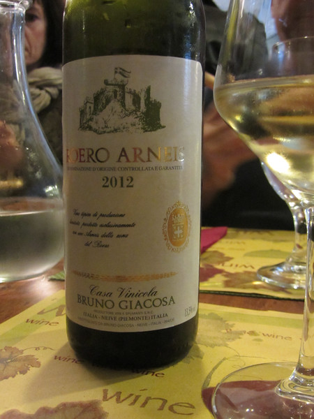 Light lunch at the Barolo Bar in Monforte d'Alba accompanied by a great 2012 Bruno Giacosa Roero Arneis