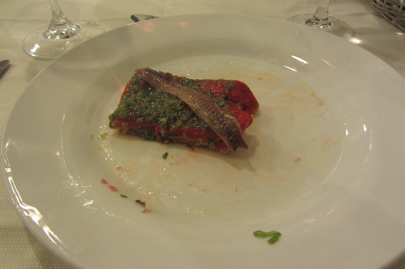 Roasted Pepper, Anchovy and salsa verde at Trattoria Dai Bercau.