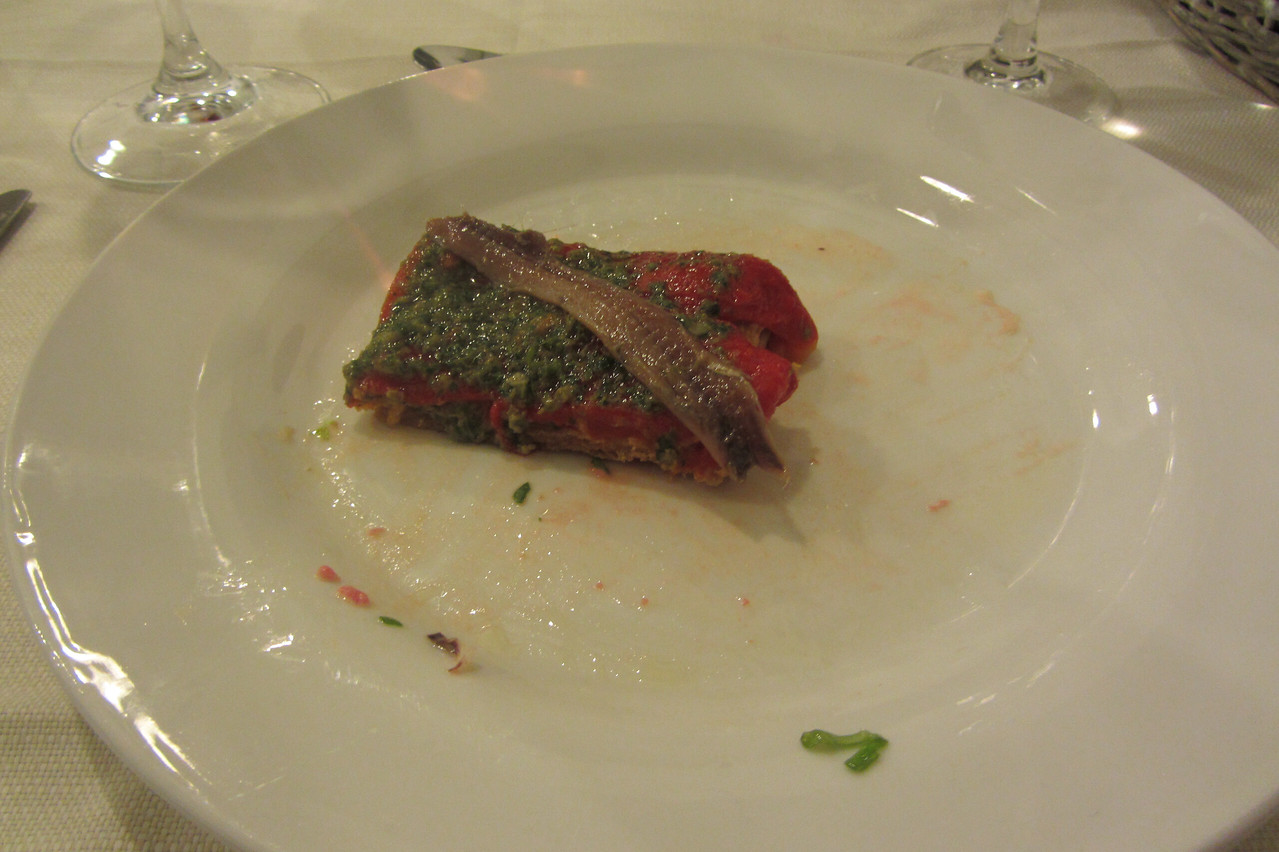 Roasted Pepper, Anchovy and salsa verde at Trattoria Dai Bercau.