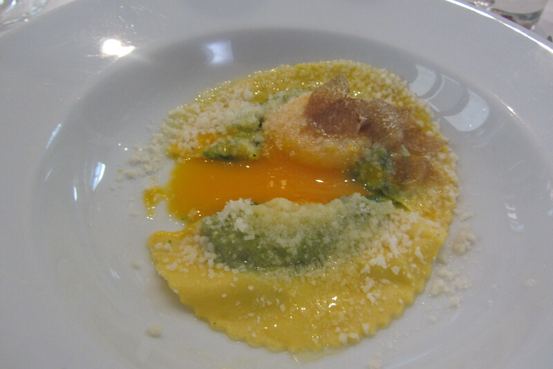 Raviolo with egg - La Cantinetta, Barolo