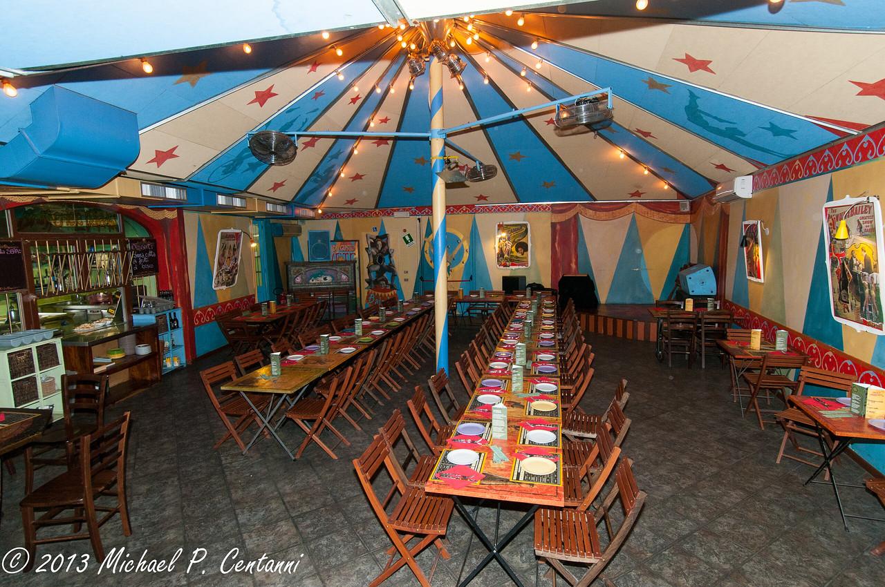 Main hall with circus theme of Le Baladin