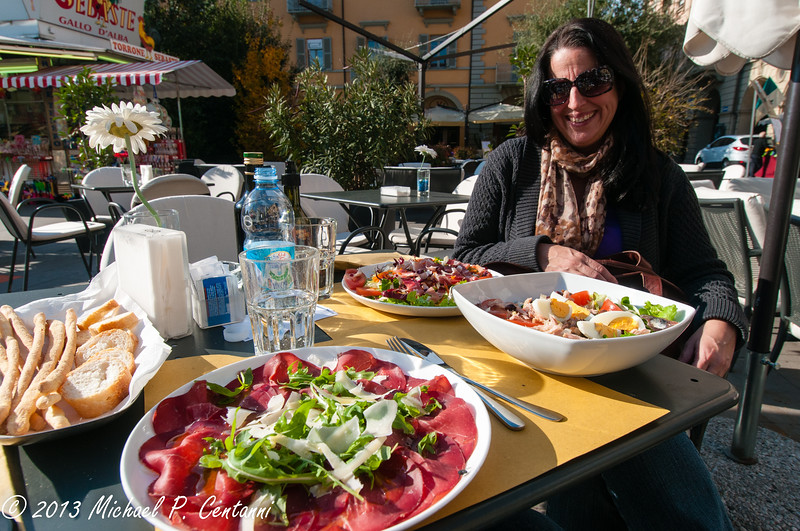 Lunch in the Piazza Savona in Alba.  Much needed veggies!!!!!