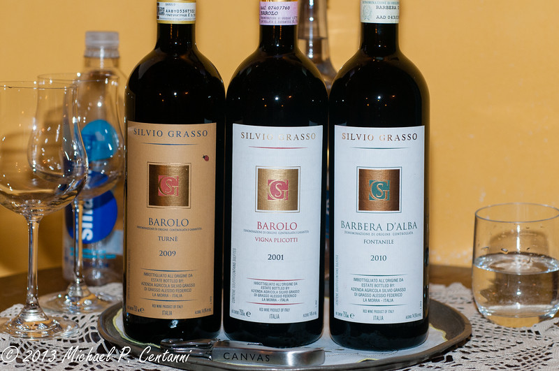 Our wine purchases and a gift from Paolo at Silvio Grasso!  Paolo gave us the 2001 to drink now.  It was fabulous!