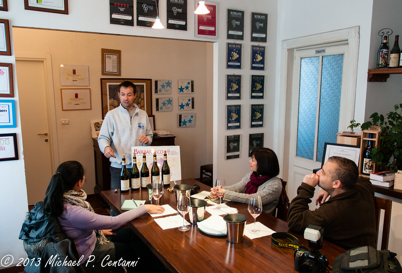 In the tasting room at Sottimano with Andrea