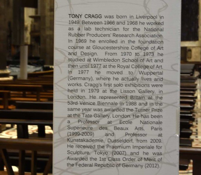 Milan cathedral, 9 June 20157 7.  About Sir Tony Cragg.