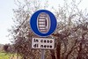 Snow chain sign, San Gimignano, 15 April 2015