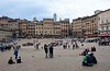 Piazza Pubblico. Siena, 17 April 2015 2.  The cathedral's campanile peeps over the buildings at centre.