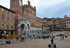 Palazzo Pubblico, Siena, 17 April 2015 1.  The base of the Mangia tower is at left.