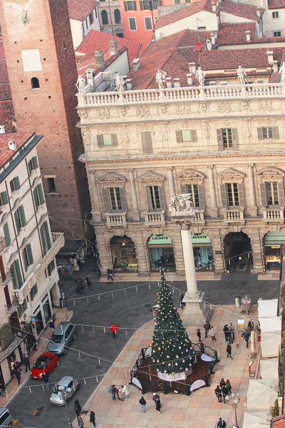 Italy, Verona, View from Tower in Pizza Erbe Christmas Tree