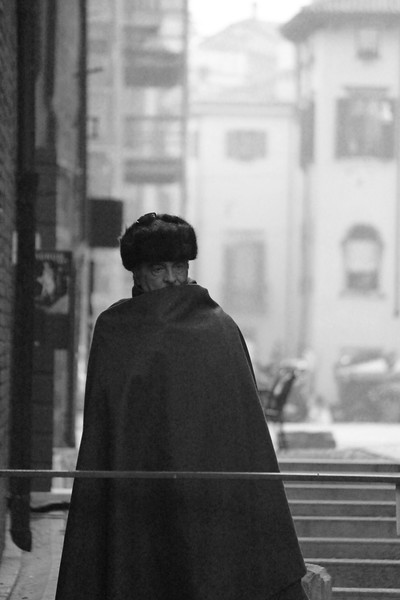 Italy, Verona, Mysterious Man in Cloak / Cape