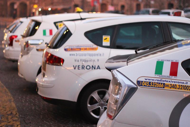 Italy, Verona, Taxi Rank Piazza Bra