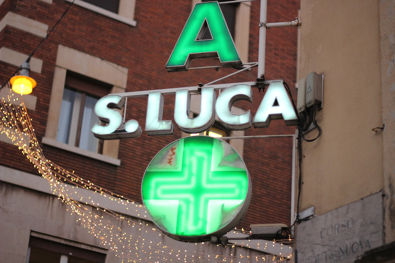 Italy, Verona, Pharmacy Neon Sign