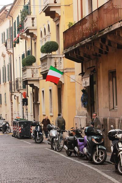 Italy, Verona, Italian Flag, Scooters Parked