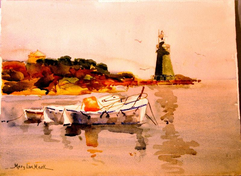 """Resting At Giglo Harbor, Italy 11"""" x !5"""" Price: $300. Framed"""
