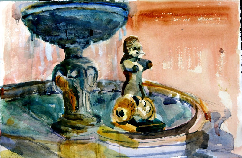 """Fountain Angel In Toscania, Italy 15"""" x 22"""" Price: $125. Unframed"""