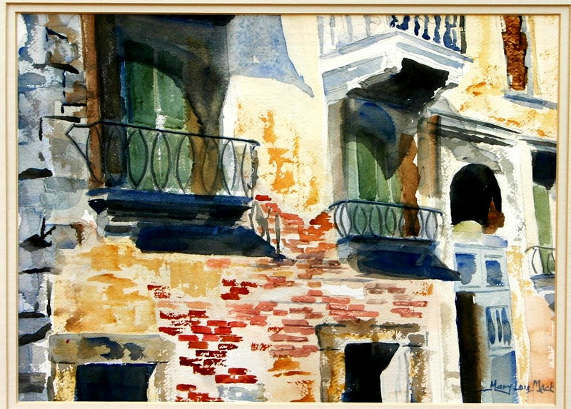 """Balconies On The Grand Canal - Venice 11"""" x15"""" Price: $400. Unframed"""