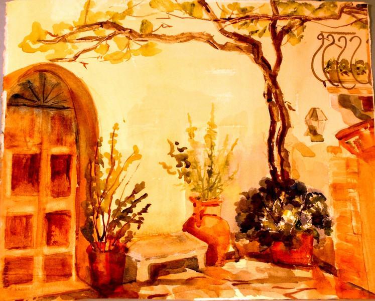 "Courtyard In Pienza - Tuscany,Italy 15"" x 18"" Price:$350. Unframed"