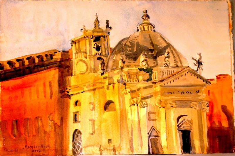 Saint Mary's Church In Piazza del Popolo, Italy