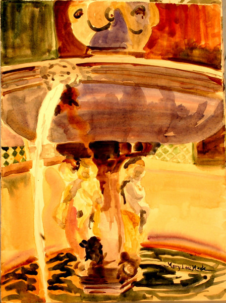 "Italian Fountain - Sargeant Style 11"" x 15"" Price: $150. Unframed"