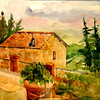 """Mountain Cottage In Pienca, Italy 11' x 15"""" Price: $125. Unframed"""