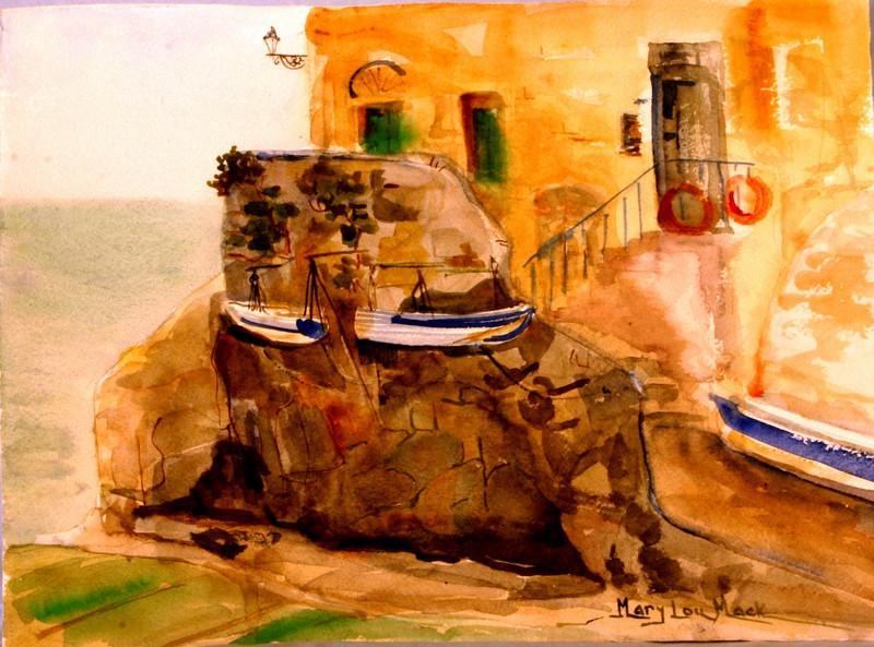 """Riomaggiorge Fishing Boats - Cinqe Terra 11"""" x 15"""" Price: $125. Unframed"""