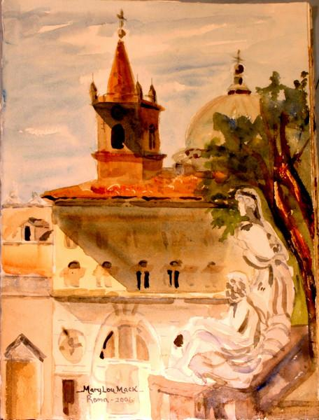 """Overlooking Piazza del Popolo, Italy 15"""" x 11"""" Price: $175 Unframed"""