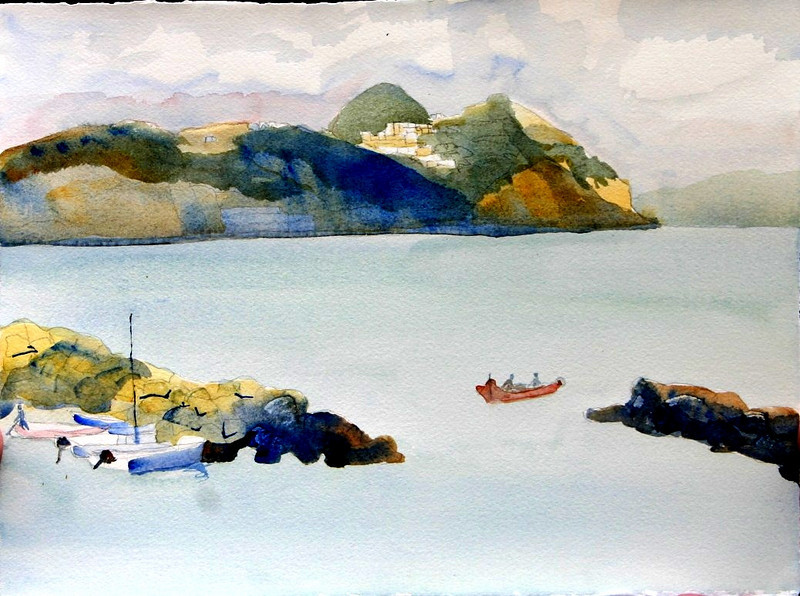"""Peaceful Evening On Ischia, Italy 11"""" x 15"""" Price: $125 Unframed"""