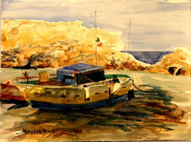 "Fishing Boat At California Bay, Italy 11""x 15"" Price: $300. Framed"