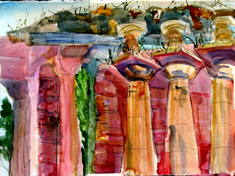 """Pastrum Temples- South Of Salerno, Italy 11"""" x 15"""" Price: $100. Unframed"""