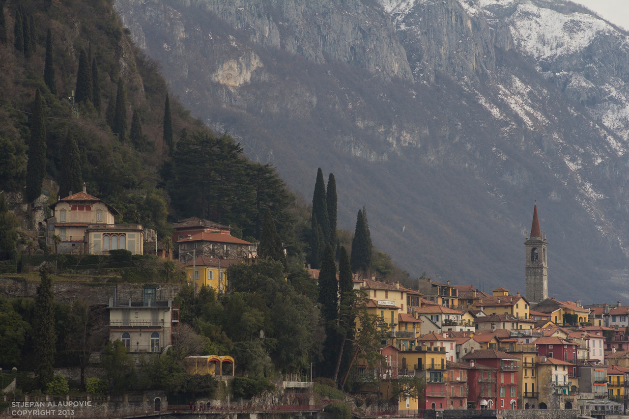 View of Varenna, Italy from Lake Cuomo