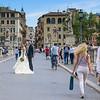 Bride and Groom Crossing Ponte Sant'Angelo