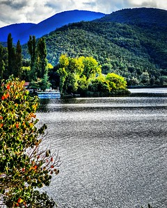 """""""Lake Piediluco"""" - Italia   From a boat on this lake Galileo, in 1624, first demonstrated his Theory of Relativity to a group of friends."""