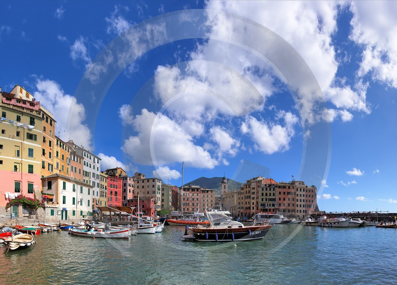 Camogli Port Boat Ship Houses Mountain Fine Art Landscape Photography Modern Art Print - 002118 - 17-08-2007 - 7396x5311 Pixel