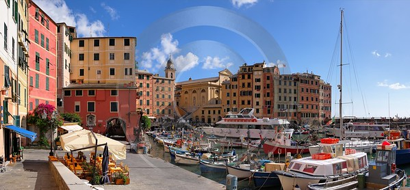 Camogli Port Boat Ship Houses Prints Prints For Sale Outlook Fine Art Printing Shore Mountain City - 002123 - 17-08-2007 - 9018x4185 Pixel