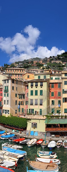 Camogli Port Boat Ship Houses Snow Mountain Color Royalty Free Stock Images Fine Arts Hi Resolution - 002105 - 17-08-2007 - 4514x11462 Pixel