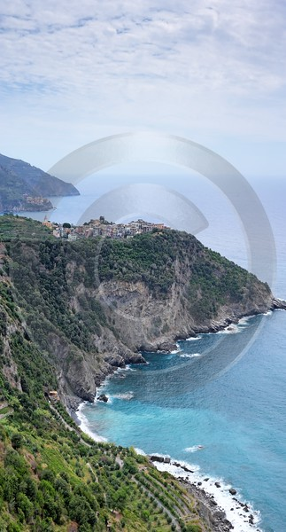 Corniglia Cinque Terre Ocean Town Viewpoint Cliff Outlook Fine Art Prints For Sale Ice Flower Stock - 002151 - 18-08-2007 - 4421x8203 Pixel