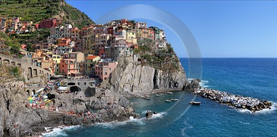 Manarola Cinque Terre Ocean Town Viewpoint Cliff Port Fog Winter Fine Art Nature Photography - 002167 - 18-08-2007 - 12291x6074 Pixel