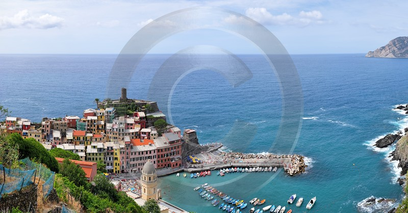 Vernazza Cinque Terre Ocean Town Viewpoint Cliff Port Stock Image Stock Pictures Order Barn - 002130 - 18-08-2007 - 12357x6450 Pixel