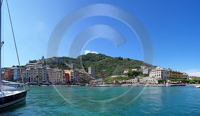 Portovenere Liguria Port Yacht Boat Ship Houses Ocean Snow Creek Panoramic - 002304 - 23-08-2007 - 7796x4541 Pixel
